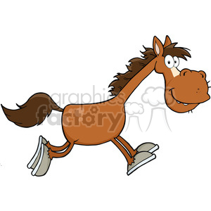 6866_Royalty_Free_Clip_Art_Smiling_Horse_Cartoon_Character_Running clipart. Royalty-free image # 393112