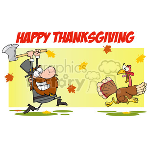 6900_Royalty_Free_Clip_Art_Angry_Pilgrim_Chasing_With_Axe_A_Turkey clipart. Commercial use image # 393122