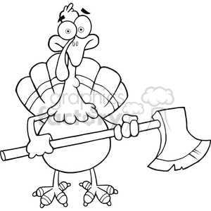 Black and White Turkey With Axe Cartoon Mascot clipart. Commercial use image # 393132