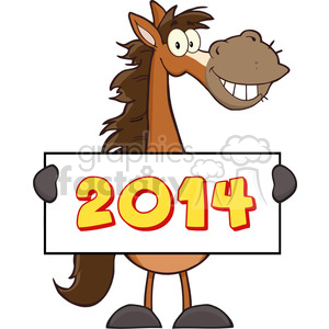 6882_Royalty_Free_Clip_Art_Horse_Cartoon_Mascot_Character_Holding_A_Banner_With_Text clipart. Commercial use image # 393142