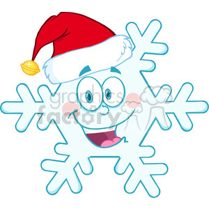 Royalty Free RF Clipart Illustration Smiling Snowflake Cartoon Mascot Character With Santa Hat clipart. Commercial use image # 393154