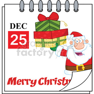 Royalty Free RF Clipart Illustration Christmas Holiday Calendar With Santa Claus Holding Up A Stack Of Gifts clipart. Royalty-free image # 393174