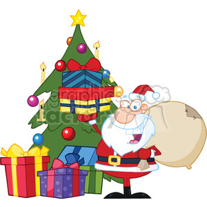 Royalty Free RF Clipart Illustration Jolly Santa Claus Holding Up A Stack Of Gifts By A Christmas Tree clipart. Commercial use image # 393184
