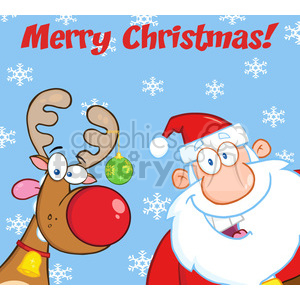Royalty Free RF Clipart Illustration Merry Christmas Greeting With Reindeer And Santa Claus clipart. Commercial use image # 393187