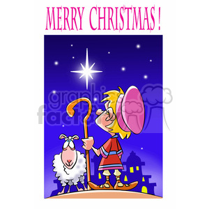 cartoon characters funny north+star shepherd sheep jesus religion christian merry+christmas