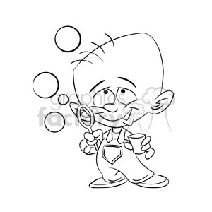 baby boy blowing bubbles black white clipart. Commercial use image # 393382