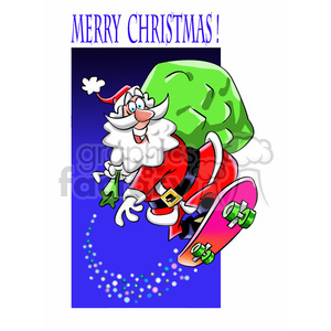 santa claus riding a skateboard merry christmas clipart. Commercial use image # 393392