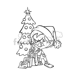 cartoon kid checking santas list black white clipart. Royalty-free image # 393450