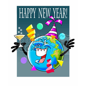 happy new year earth cartoon clipart. Royalty-free image # 393460
