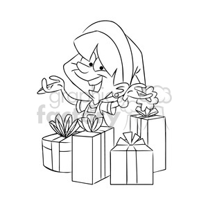 kid happy on christmas black white clipart. Commercial use image # 393500