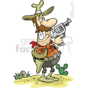 cartoon cowboy holding a smoking gun clipart. Commercial use image # 393530
