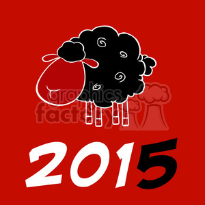 Royalty Free Clipart Illustration Happy New Year 2015 Design Card With Black Sheep And Black Number animation. Royalty-free animation # 393570