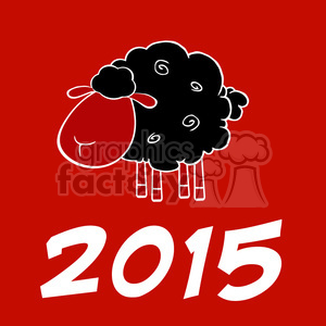 Royalty Free Clipart Illustration Happy New Year 2015 Design Card With Black Sheep animation. Royalty-free animation # 393580