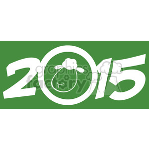Royalty Free Clipart Illustration Year Of Sheep 2015 Numbers Green Design Card With Sheep Head clipart. Royalty-free image # 393590