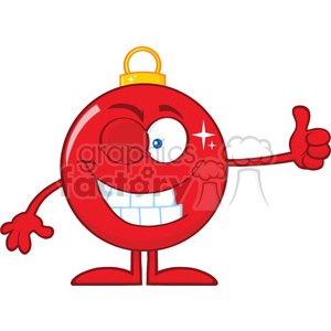 Winking Red Christmas Ball Cartoon Character Giving A Thumb Up clipart. Royalty-free image # 393600
