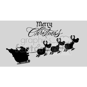 Merry Christmas Greeting With Santa Claus In Flight With His Reindeer And Sleigh Silhouettes Vector Illustration Isolated On Gray Background clipart. Royalty-free image # 393610
