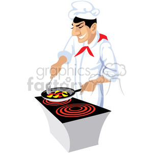 cartoon chef cooking clipart. Royalty-free image # 393641