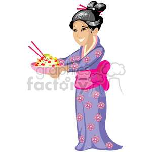 asian wife serving noodles clipart. Royalty-free image # 393651
