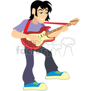 cartoon rocker playing the guitar clipart. Commercial use image # 393661