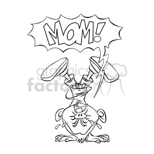 vector child stuck upside down crying for mom cartoon drawing clipart. Commercial use image # 393671