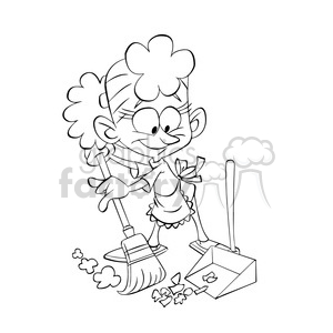 vector black and white image of girl sweeping the floor with a broom clipart. Commercial use image # 393751