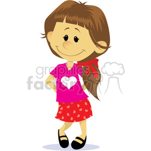 valentine shy girl cartoon clipart. Commercial use image # 393825