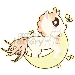 cartoon Unicorn Moon illustration clipart. Commercial use image # 393835