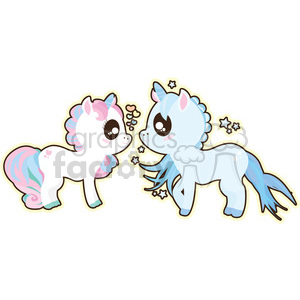 cartoon Unicorn Boy and Girl illustration clip art image clipart. Commercial use image # 393865