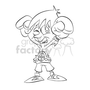 boxing champion black white art clipart. Commercial use image # 393911