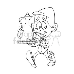 black and white image of male waiter nino con taza de cafe negro clipart. Royalty-free image # 393931