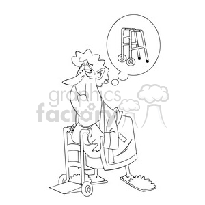 black and white senior women using a walker anciana negro clipart. Royalty-free image # 394001