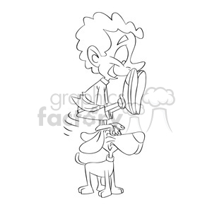 black and white image of boy playing with his dog nino saltando negro clipart. Royalty-free image # 394071