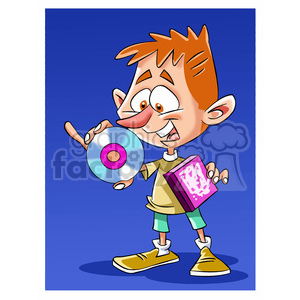 kid holding CD ROM clipart. Commercial use image # 394211