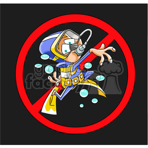 no sign scuba diver diving water cartoon