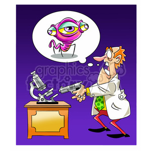 scientist shooting his microscope alien bug clipart. Royalty-free image # 394241