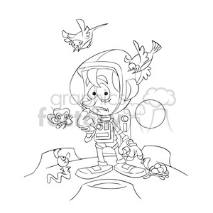 astronaut on strange planet in black and white clipart. Royalty-free image # 394272