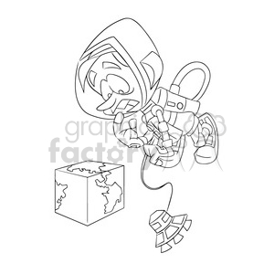 astronaut viewing earth as a square outline clipart. Commercial use image # 394282