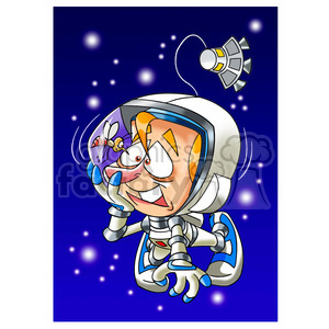 astronaut with bee stuck in his helmet clipart. Commercial use image # 394292