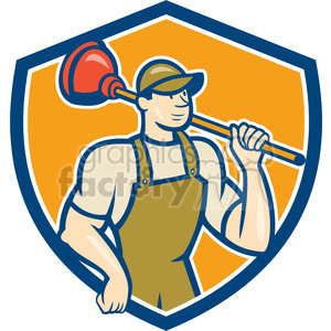 plumber plunger shoulder SHIELD clipart. Commercial use image # 394372