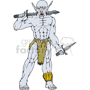 warrior orc sword frnt CARTOON clipart. Royalty-free image # 394382