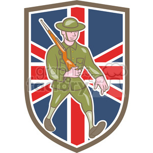 world war one british soldier marching rifle FLAG SHIELD clipart. Royalty-free image # 394392