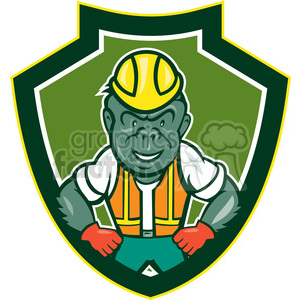 monkey gorilla face head animal mascot logo construction worker