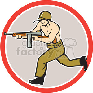soldier running tommy gun clipart. Commercial use image # 394422