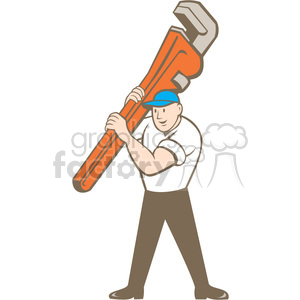 plumber carry wrench front ISO clipart. Commercial use image # 394432
