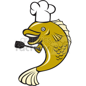 cook largemouth bass fish spatula ISO clipart. Commercial use image # 394442