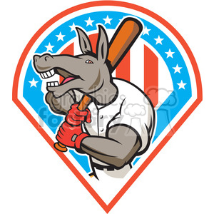 donkey baseball player batting front DIA clipart. Royalty-free image # 394482