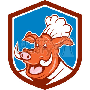 wild pig chef head frnt SHIELD clipart. Royalty-free image # 394492