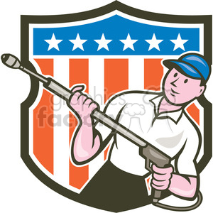 water blaster pressure washing front USA FLAG SHIELD clipart. Commercial use image # 394502