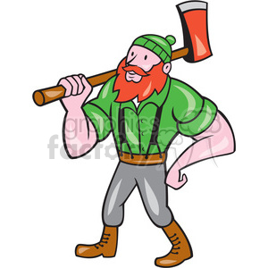 paul bunyan carrying an axe clipart. Royalty-free image # 394512