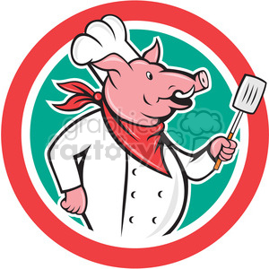 pig chef holding spatula side CIRC clipart. Commercial use image # 394532
